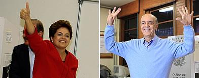 Dilma Rousseff  y el ex gobernador José Serra / Agência Estado