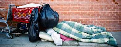 A homeless man on the street. (Getty Images)