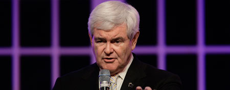 Republican presidential candidate, former House Speaker Newt Gingrich, campaigns at Centro de al Familia in Orlando, Fla., Saturday, Jan. 28, 2012. (AP Photo/Paul Sancya)
