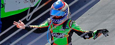 Danica Patrick gestures after an incident in the NASCAR Nationwide Series Scotts EZ Seed 300 at Bristol Motor Speedway on Saturday in Bristol, Tenn. (Photo by Geoff Burke/Getty Images for NASCAR)