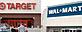 (L-R) Target storefront (AP); Walmart (Jeff Zelevansky/Getty Images)