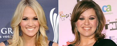 (L-R) Carrie Underwood (Jason Merritt/Getty Images); Kelly Clarkson (Scott Kirkland/WireImage)