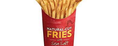 A product image provided by Wendy's, shows the Natural Cut Fries with Sea Salt. With an eye toward appealing to foodies, Wendy's is remaking its fries with Russett potatoes, leaving the skin on and sprinkling sea salt on top. (AP Photo/Wendy's) NO SALES