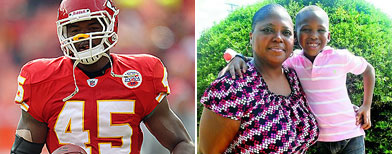 (L-R) Leonard Pope of the Kansas City Chiefs, Anne Moore with her son, Bryuson. (Photo courtesy of Chris Whitaker, Americus Times-Recorder)