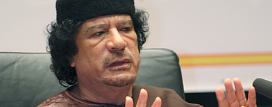 "Libyan leader Moammar Gadhafi talks during a celebrations marking the 31-year anniversary of the declaration of the ""Jamahiriya,"" or ""rule of the masses"" in Sirte, Libya, Sunday, March 2, 2008. (AP)"