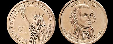 This undated photo provided by the U.S. Mint shows the front, right, and back of the President John Adams presidential $1 coin. (AP Photo/US Mint)