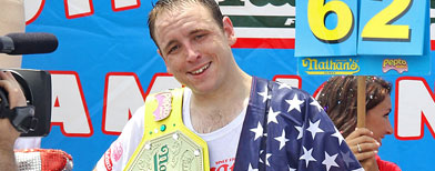 Joey Chestnut attends the 2011 Nathan's Famous Fourth Of July International Hot Dog Eating Contest in Coney Island on July 4, 2011 in the Brooklyn borough of New York City. (Photo by Rob Kim/FilmMagic)
