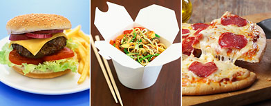 Hamburgers, Chinese, and pizza are all popular American fare. (ThinkStock)