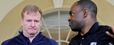 NFL commissioner Roger Goodell, left, and National Football League Players Association executive director DeMaurice Smith, right, speak to the media outside of the Ritz-Carlton hotel after addressing players during the NFLPA rookie symposium on Wednesday, June 29, 2011 in Sarasota, Fla. (AP Photo/Brian Blanco)