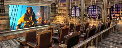 The lavish seating area sits atop the deck of a pirate ship. (Photos courtesy Elite Home Theater Seating)