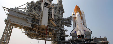 Space shuttle Atlantis is seen on Pad 39A at the Kennedy Space Center in Cape Canaveral, Fla., Friday, June 17, 2011.(AP Photo/John Raoux)