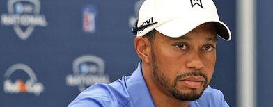 Tiger Woods speaks to the media during a press conference before the AT&T National at Aronimink Golf Club on June 28, 2011 in Newtown Square, Pennsylvania. (Photo by Hunter Martin/Getty Images)