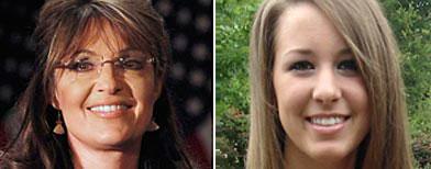 Former Alaska governor Sarah Palin, and Sarah Palin, a student at the University of Texas (Left; Shannon Stapleton / Reuters: Courtesy Sarah Beth Palin)