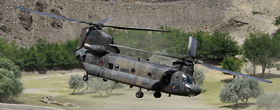 A U.S. chinook helicopter takes off in Afghanistan on Sunday, July 24, 2011. A chinook helicopter crashed in eastern Afghanistan late Friday, August 5, killing U.S. special operation troops and Afghan commandos. (AP Photo/Anja Niedringhaus)