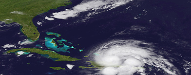 The GEOS East satellite shows Hurricane Irene on Aug. 23, 2011 as it passes over Puerto Rico and the Dominican Republic. (NOAA/AP Photo)