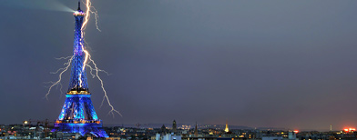 Lightning Over the Eiffel Tower, Photographed from an Apartment in Paris