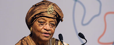 President of Liberia, Ellen Johnson-Sirleaf speaking at the Global Alliance for Vaccines and Immunisation (GAVI) conference in London June 13, 2011. (REUTERS/Paul Hackett)