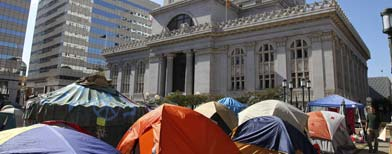 "View of tents erected in front of Oakland City Hall as part of the ""Occupy Oakland"" protest Wednesday, Oct. 19, 2011, in Oakland, Calif. (AP Photo/Ben Margot)"