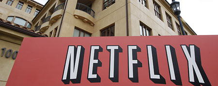 The exterior of Netflix headquarters is seen in Los Gatos, Calif., Monday, Oct. 10, 2011. (AP Photo/Paul Sakuma)