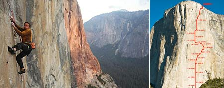 Tommy Caldwell (photo Kyle Berkompas) and the route he attempted (photo courtesy the Caldwells)