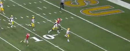 Tyrann Mathieu of LSU breaks into the clear on a punt return against Georgia in the SEC championship (Y! Sports screengrab)