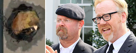 (L-R) Cannonball hole (ABC/GMA), hosts Adam Savage and Jamie Hyneman (Mark Wilson/Getty Images)