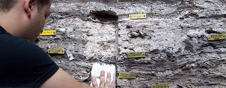 Study researcher Christopher Miller sampling sediments containing the ancient mattresses. (Prof. Lyn Wadley via LiveScience)