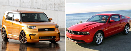 Scion xB, Ford Mustang (via Yahoo! Autos)