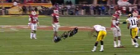 Iowa's Marvin McNutt dodges a falling skycam (Y! Sports screengrab)