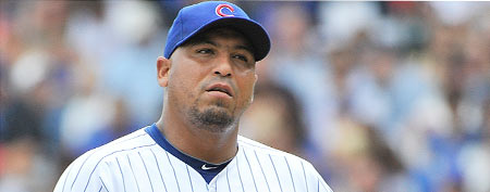 Starting pitcher Carlos Zambrano #38 of the Chicago Cubs (Photo by Brian D. Kersey/Getty Images)