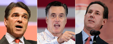 Rick Perry, Mitt Romney, Rick Santorum (AP Photos)