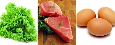 (From left) Leafy greens, tuna steaks, eggs (Thinkstock)