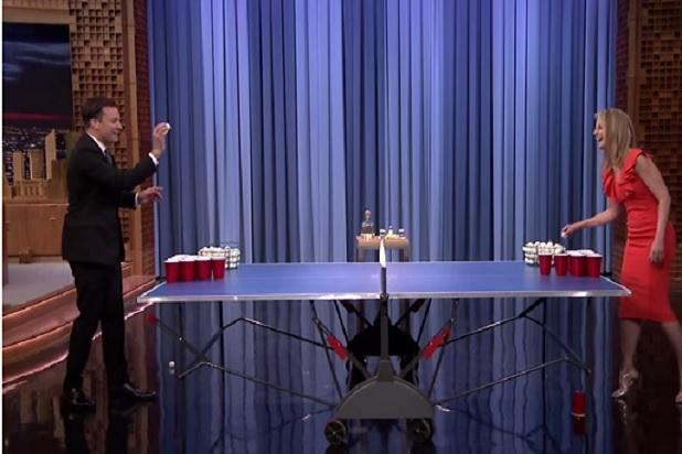 Jimmy Fallon and Helen Hunt Play Beer Bong and Do Tequila Shots – It's Cinco de Mayo Pre-Game (Video)