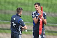 Steven Finn, right, looks to be winning his fitness battle ahead of the first Test