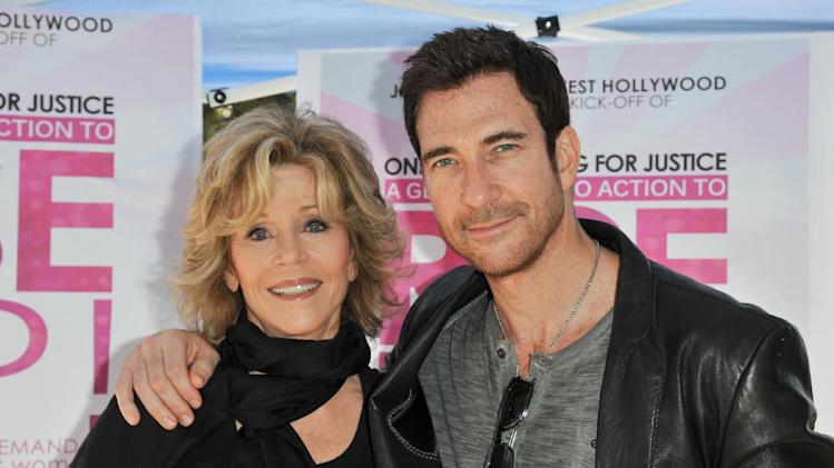 Jane Fonda, left, and Dylan McDermott attend One Billion Rising for Justice on Friday, Feb, 14, 2014 in West Hollywood, Calif. (Photo by Richard Shotwell/Invision/AP)