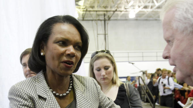 "Former Secretary of State Condoleezza Rice greets Romney supporters as she leaves  Broward College after a ""Get-Out-The-Vote"" event in Davie, Fla., Monday, Nov. 5, 2012.  Romney is making a strong push for Florida voters.  (AP Photo/Alan Diaz)"