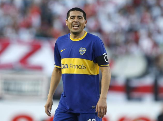 Boca Juniors' Juan Roman Riquelme shouts during an Argentine Championship First Division soccer match against River Plate in Buenos Aires
