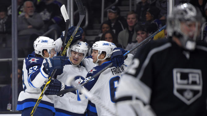 Jets score on first 3 shots, beat Kings in shootout