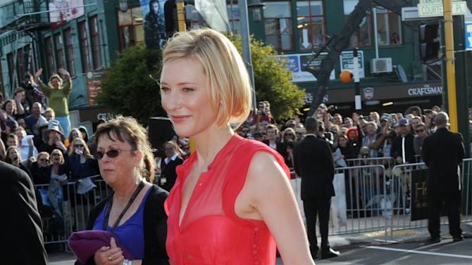 "FILE - In this Nov. 28, 2012 file photo, Cate Blanchett, who plays Galadriel, walks on the red carpet for the premiere of ""The Hobbit: An Unexpected Journey,"" at Embassy Theatre in Wellington, New Zealand. Many fans are eagerly anticipating a return to the fictional world of Middle-earth with next week's general release of the first movie in ""The Hobbit"" trilogy, the precursor to ""The Lord of the Rings"" movies. (AP Photo/SNPA, Ross Setford, File) NEW ZEALAND OUT"