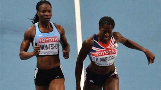 Britain's Christine Ohuruogu (R) wins the women's 400 metres final at the 2013 IAAF World Championships at the Luzhniki stadium (AFP)