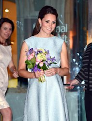 Pregnant Kate Middleton dons baby blue Emilia Wickstead for charity visit