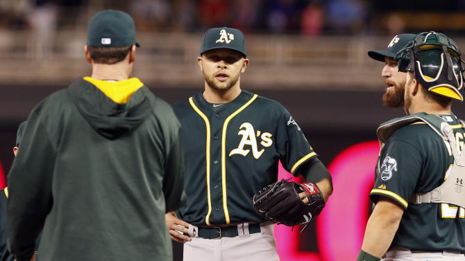 Oakland Athletics pitcher Jesse Hahn, center, waits to be relieved in the sixth inning of a baseball game against the Minnesota Twins, Monday, May 4, 2015, in Minneapolis. The Twins won 8-7, with Hahn taking the loss. (AP Photo/Jim Mone)