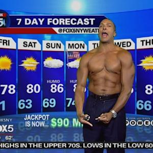 Shirtless Meteorologist Delivers Weather