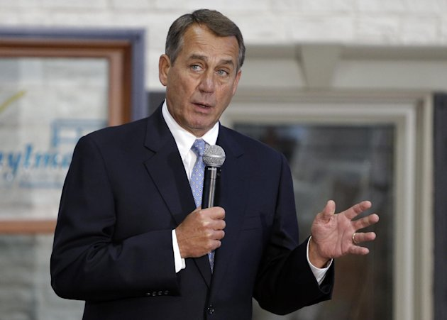 House Speaker John Boehner of Ohio takes questions from employees after a tour of Vinylmax LLC, Monday, Feb. 11, 2013, in Hamilton, Ohio. Vinylmax is a top window producing company. (AP Photo/Al Behrman)