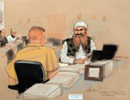 This courtroom sketch by artist Janet Hamlin shows self-declared 9/11 mastermind Khalid Sheikh Mohammed (R) wearing a military-style camouflage vest as he appears at a pre-trial hearing at the US Naval Base in Guantanamo Bay, Cuba. Sheikh Mohammed delivered a scathing anti-American diatribe in what the judge called a &quot;one-time occurrence.&quot;