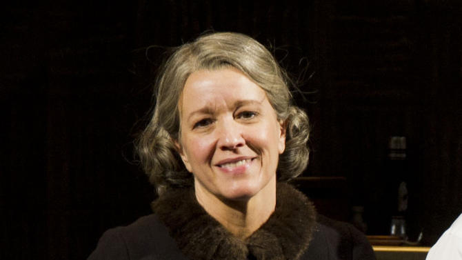 """In this March 15, 2012 file photo, actress Linda Emond appears at the curtain call for the opening night performance of the Broadway revival of Arthur Miller's """"Death of A Salesman"""" in New York. Emond will join fellow actors Danny Burstein, Alan Cumming and Michelle Williams in the upcoming Broadway revival of """"Cabaret."""" (AP Photo/Charles Sykes, File)"""