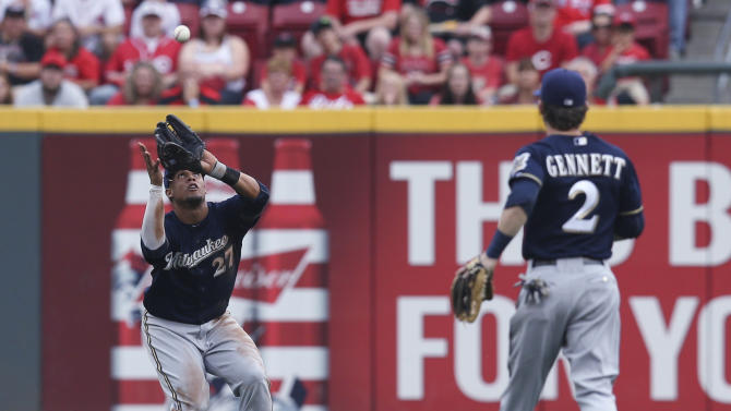 Milwaukee Brewers center fielder Carlos Gomez (27) catches a ball hit by Cincinnati Reds' Todd Frazier during the first inning of a baseball game, Friday, July 3, 2015, in Cincinnati. (AP Photo/John Minchillo)