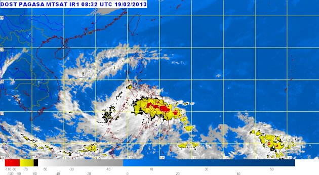 "The lowest public storm signal warning remained hoisted over several Mindanao provinces late Tuesday hours after tropical depression ""Crising"" made landfall, the state weather bureau said. (Photo from Pagasa website, Feb. 19, 20o13, 5 p.m.)"