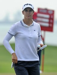Azahara Munoz of Spain, seen on the 6th green during round two of the HSBC Women's Champions LPGA tournament at the Serapong Course in Singapore, on March 1, 2013