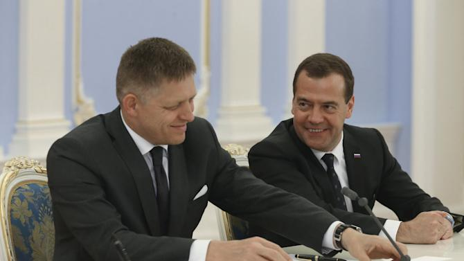 Russia's Prime Minister Medvedev meets with Slovakia's Prime Minister Fico outside Moscow